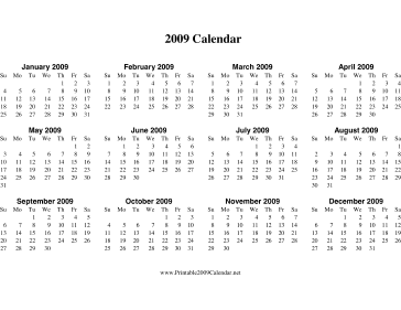 2009 Calendar on one page (horizontal) Calendar