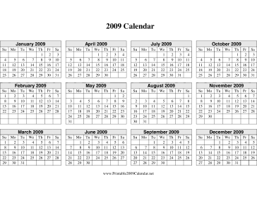 2009 Calendar on one page (descending, horizontal grid) Calendar
