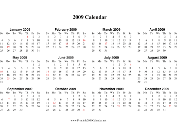 2009 Calendar on one page (horizontal, holidays in red) Calendar