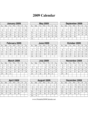 2009 Calendar on one page (descending, vertical grid) Calendar