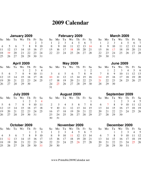 2009 Calendar on one page (vertical, holidays in red) Calendar