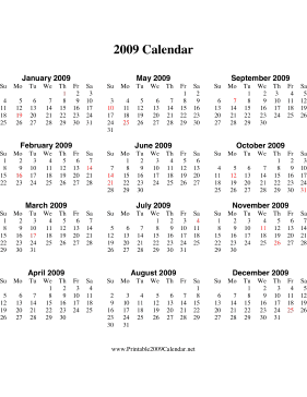 2009 Calendar on one page (descending, vertical, holidays in red) Calendar