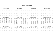 2009 Calendar on one page (descending, horizontal) calendar