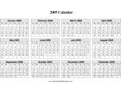 2009 Calendar on one page (horizontal grid) calendar