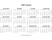 2009 Calendar on one page (descending, horizontal, holidays in red) calendar