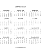 2009 Calendar on one page (vertical) calendar