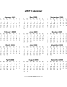 2009 Calendar on one page (descending, vertical) calendar